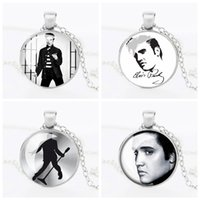 Wholesale Elvis Wholesale - Wholesale-Retail 1pcs lot Vintage Elvis Presley Picture Pendant Necklace The King of Rock Art Jewelry Gift Elvis Presley Necklaces