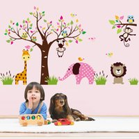 Wholesale pvc free decal paper resale online - Monkey Elephant Forest Animal Kindergarten Wall Stickers Large Tree Vinyl Decals Living Room Home Decorative