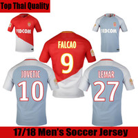 Wholesale Monaco Gold - 17 18 As Monaco Soccer Jerseys 2017 2018 FALCAO Football Shirt FABINHO Jersey JOVETIC Maillot de Foot CARRILLO Jersey KEITA BALDE Maglie