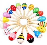 Wholesale Latex Hammer - Wooden Toy Primitive Tribes Colorful Baby Small Sand Hammer Cartoon Musical Instruments Knock Wooden Bell Baby Educational Toys