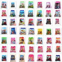 Wholesale Wholesale Food Beverage - Newest Drawstring Bags Non Woven Sling Bag Kids Backpacks Storage bag Girls Party Gift Cartoon bags Birthday toys Storage Beam rope bag I113