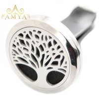 Wholesale circles car resale online - Christmas Trees Aromatherapy Essential Oil surgical mm Stainless Steel Pendant Perfume Diffuser Car Lockets Include Felt Pads