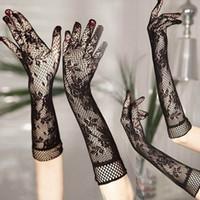 Wholesale Wedding Stretch Gloves - New Summer wedding lace Gloves Five Finger Fishnet Wedding Gloves Stretch Lace Opera Length Gloves