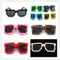 Wholesale pixel sunglasses online - eyeware Vintage Children Glasses bit Pixel for boys and girls Sunglasses vintage Female Male Mosaic Sun Glasses kids UV400