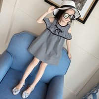 Summer black off the shoulder clothing - 2017 Summer New Girls Dresses Off The Shoulder Black White Plaid Bohemian Dresses Children Clothing Y XEB001