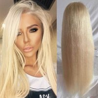 Wholesale Platinum Lace Wigs - #613 Full Lace Human Hair Wig Silky Straight Platinum Blonde Lace Front Wig Human Hair Full Lace Wig Blonde Hair