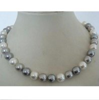 Wholesale Silver Necklace Yellow - stunning AAA+9-10mm tahitian white grey color pearl necklace 16 inch 14K