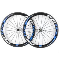 Wholesale 26 Wheels - 50mm Depth 23mm Width Fast Forward FFWD Blue Decal Carbon Wheels Clincher Tubular 3K Matt Full Carbon Bicycle Wheelset With Novatec 271 372