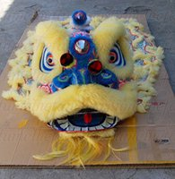 Wholesale Chinese Dancing Costumes - New style yellow blue Lion Dance mascot Costume pure wool Southern Adult size chinese festival children days Folk costume party shopping