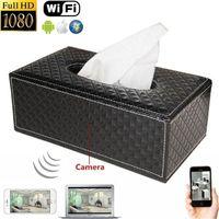 Wholesale Tissue Dvr - 1080P Tissues Box Hidden Spy Camera WIFI HD DVR Hidden IP Camera Wireless Security Nanny Cam Mini DV