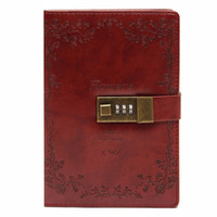 Atacado- B6 Retro Red Rose Leather Wired Diário Diário Blank Paper Notebook With Lock Sketchbook Notepad Gift Office School Supplies