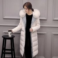 2cf1a130b53 Women Down Coat Jacket Knee Length Woman Down Parka with a Real Fur Collar Thicken  Plus Size Winter Coat Women Black White S-XXL