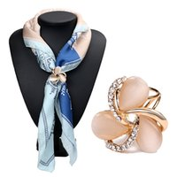 Moda Resina Crystal Flowers Scarf Buckle Wedding Brooch Pins Crystal Holder Silk Scarf Jewelry 3794