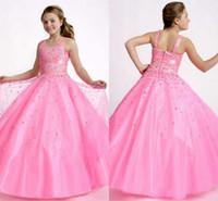 Wholesale Boleros Girl - Lnexpensive Lovely Flower Girl Dresses Bolero Girls Dresses Pageant For Girls Sparkly Crystal Beaded Children Prom Dress HY1128