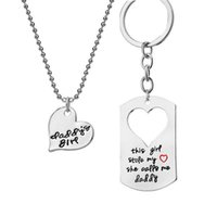 Daddy's Girl Hearts Keychains Collana 2 in 1 Portachiavi Portachiavi Portachiavi Portachiavi del Dono