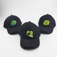 Wholesale Bad Snapback - Sad Kermit Tea Cap Frog Pepe Feels Bad Man Embroidery Sun-shade Snapback Hip Hop Baseball Cap The Sad Meme Frog Hat