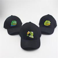 Wholesale hip hop shades - Sad Kermit Tea Cap Frog Pepe Feels Bad Man Embroidery Sun-shade Snapback Hip Hop Baseball Cap The Sad Meme Frog Hat