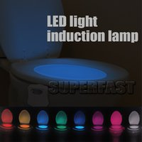 Wholesale LED Toilet Lamp Night Light Motion Activated Sensor Bowel Auto Motion Sensor Seat Colorful Induction Lamp For bathroom Light with Retail Box