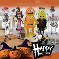Barato Decorações De Quebra-cabeça Diy-Halloween DIY Decorações Ghost Skeleton Pumpkin Witch Vampire Cardboard Puzzle Festival Ornaments Props Children Toy Gift Grátis DHL 359