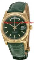 gelbe lederuhren großhandel-Top-Qualität Luxusuhren Grünes Zifferblatt 18K Gelbgold Grün Leder Herrenuhr Herrenuhr Armbanduhren