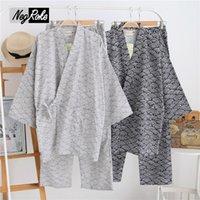 Wholesale Couple Pajamas Set - 2017 spring 100% cotton Japanese kimono pajamas sets for men long-sleeve pyjamas couples simple pijama hombre SPA Robe sets men