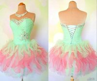 Wholesale Rainbow Mini Dress - Wholesale Cheap Rainbow Crystal Short Homecoming Dresses Sweetheart Lace Up Back Mini Girls Cocktail Party Dresses For Sale 2018