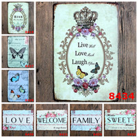 Wholesale Poetry Paintings - family love Retro welcome sweet home Poetry Vintage Craft Tin Sign Metal Painting Antique Iron Poster Bar Pub Signs Wall(Mixed designs)