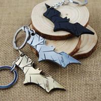 Wholesale Presents Batman Figure - Superhero Batman Movie Theme figure toys pendant Bat Man Metal Keychains for boys Birthday Present