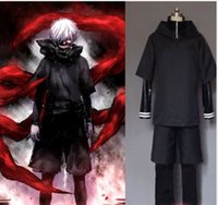 Wholesale Men Leather Sweater Xxl - Full Outfit!Tokyo Ghoul Kaneki Ken Hoodie Sweater Cosplay Costume Fight Uniform Leather Outlet 4pcs set