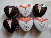 Wholesale Wholesale Mint Tin Box - Bride groom Mint tin wedding favor box 500PCS LOT free shipping dressed to the nines wedding candy box