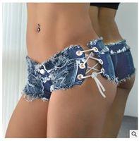 Wholesale super slim waist - 16 Styles !! Sexy Bikini Women Jeans Denim beach swimwear summer Shorts Feminino Low Waist Tassel night club super short pants trousers new