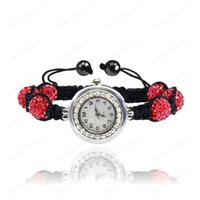 Wholesale Disco Ball Watch Sets - , Gift Fashion Crystal 10mm AB Clay Disco Balls Pink Color Shamballa Bracelets & Bangles Watches Wedding For Women
