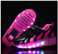 Wholesale Single Wheel Shoes - New Child Jazzy Junior Girls Boys LED Light Children Roller Skate Shoes, Kids Sneakers With Single Wheels