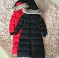 Wholesale Fur Coats Canada - Popular Famous Full long white Goose Parkas warm Down jackets Snow proof outerwear coats Canada Down Parkas Jackets with fox fur hoodies