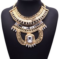 XG246 New Hot Sale 2017 Bohemia Metal Style Necklaces Pingentes Exagerado Big Crystal Statement Necklace Multi-layers Jewelry