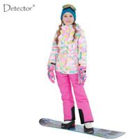 Wholesale Gold Silver Detectors - Wholesale- Detector 2016 Girls Ski Set Outdoor Waterproof Windproof Winter Ski Jacket Children Warm Skiing Suit