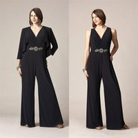 Wholesale Shoulders Suit Jacket - Modest Jumpsuits 2017 mother of the bride pant suits v neck beaded sash formal evening gowns with jacket