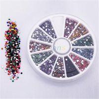 Wholesale Gemstone Nail Art - Wholesale- Wheel 2.0mm 12 Colors Nail Art Decoration Glitter Tips Rhinestones Gems Flat Gemstones 1FQA