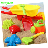 Wholesale Wheelbarrow Wholesalers - Wholesale- Happyxuan 7 pcs Beach Toy Set Kids Plastic Wheelbarrow Mold Shovel Kettle Water and Sand Play Tool
