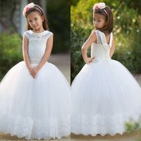 Wholesale Little White Corset Wedding Dress - 2017 Little White Cute Flower Girl Dresses Lace Appliques Jewel Neck Cap Sleeves Corset Back Tulle Long Kids Formal Wear Gowns for Christmas