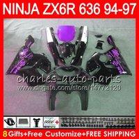 1996 kawasaki ninja zx6r großhandel-8 geschenke 23 farben für kawasaki ninja zx636 zx6r 94 95 96 97 zx 636 zx 6r lila schwarz 33no48 600cc zx-636 zx-6r 1994 1995 1996 1997 verkleidung