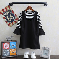 Wholesale T Fr - Children Clothing Sets Girls Dresses Set T-shirts 2pcs Sets Suits Fr girl Striped Tops Dress Outfits Sets Princess Spring Clothes Set A7071