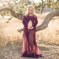 Wholesale Dresses Long Layers - Free Shipping 5Color Lace Free Size Maternity Dresses Two Layer Gauze Photography Props Pregnant Women Long Dress Elegant Pregnancy Clothes