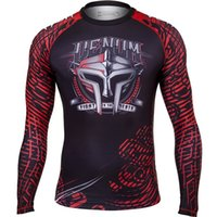 Wholesale Hot Mma Fights - 2017 Hot fighting Style Mens Anti-wear clothing Shirts Long sleeves High quality T-shirt MMA Crossfit Exercise Workout Fitness Sportswear 09