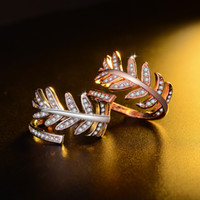 Wholesale Leaf Shaped Gold Plated Rings - Agood fashion jewelry accessories for women open ring silver plated leaf shape with rhinestone wide rings for love couples rose gold color
