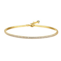 Wholesale Stretch Ankle Bracelets - yizhan Crystal Tennis 925 Sterling Silver Gold Stretch Anklet Foot Chain Leg Bracelet Sparkling Ankle Bracelet Tornozeleira Femininas