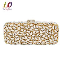Wholesale Bling Wristlet - Gold Red long clutch chain bag Women Luxury Crystal Party Purse Rhinestones Bling Clutch purse sparkly lady evening bag Wristlet