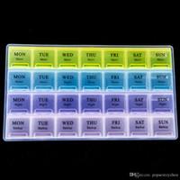 ilaç saklama kutusu toptan satış-4 Satır 28 Kareler Haftalık 7 Gün Tablet Hap Kutusu Tutucu Tıp Depolama Organizer Konteyner Vaka ücretsiz kargo