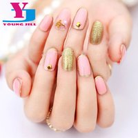 Wholesale Nail Products 3d Art - Wholesale- False Nail 3D Product Manicure Bride Fake Nails Art Slim Fashion Sport Wholesale Cute Oval Full Cover Nail tips 20pcs  set