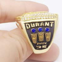 Wholesale Rhinestone Basketball Jewelry - 2017 Warriors Championship Rings Top Quality MVP Durant Ring High Qualiyt Diamond Basketball Suvenir Jewelry For Fans Free Shipping